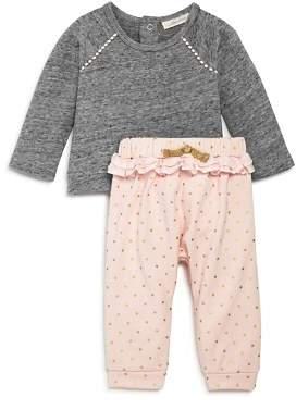 Miniclasix Girls' Raglan Sweatshirt & Ruffle Trim Dotted Pants Set - Baby