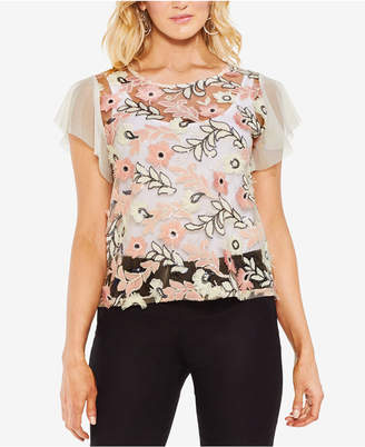 Vince Camuto Embellished Flutter-Sleeve Illusion Top
