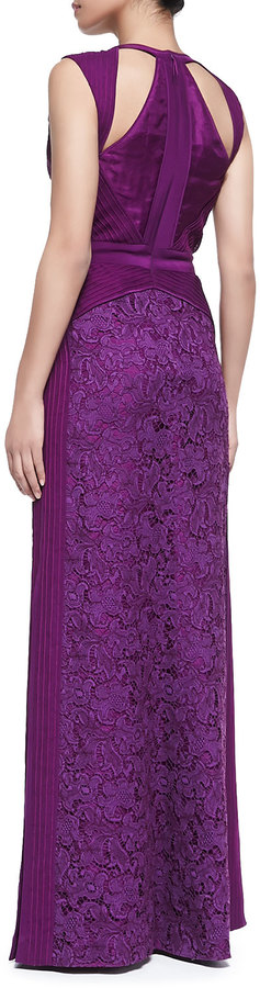J. Mendel Sleeveless Gown with Pin-Tucked Chiffon and Lace, Viola