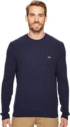 Lacoste Men's Cable Stitch Wool Sweater-with Green Croc