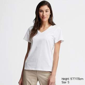 Uniqlo Women's Supima Cotton V-Neck Short-sleeve T-Shirt