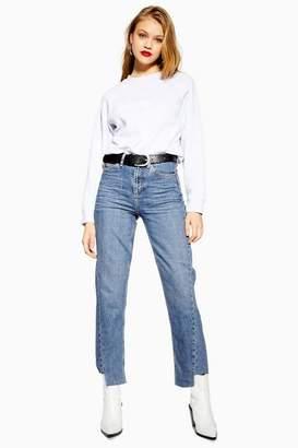 Topshop Mid Stone Twist Hem Straight Leg Jeans