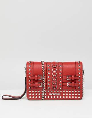 Love Moschino Stud Detail Clutch with Chain Strap