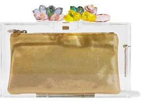 Charlotte Olympia Summertime Pandora Crystal-Embellished Perspex Box Clutch