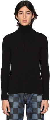 Balenciaga Cashmere Blend Rib Knit Turtleneck