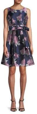 Eliza J Sleeveless Floral Print Fit-and-Flare Dress