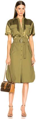 Sies Marjan Mila Satin Pocket Dress in Olive | FWRD