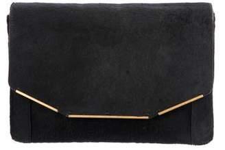 Lanvin Leather-Trimmed Ponyhair Flap Clutch