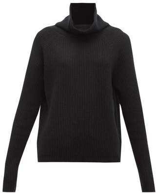 Allude Ribbed Roll Neck Cashmere Sweater - Womens - Black