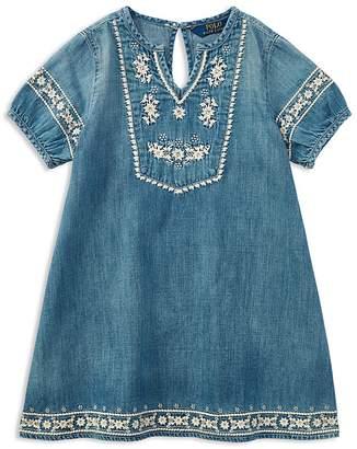 Polo Ralph Lauren Girls' Embroidered Denim Dress - Big Kid