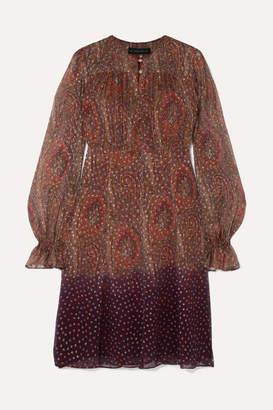 Etro Dégradé Paisley-print Fil Coupé Silk-blend Chiffon Dress - Copper