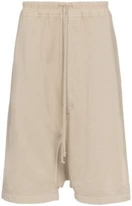 Rick Owens Beige drop-crotch cropped cotton shorts