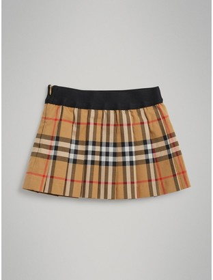 Burberry Pleated Vintage Check Cotton Skirt , Size: 18M