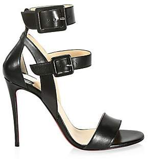 Christian Louboutin Women's Multipot 100 Leather Double Strap Slingback Sandals
