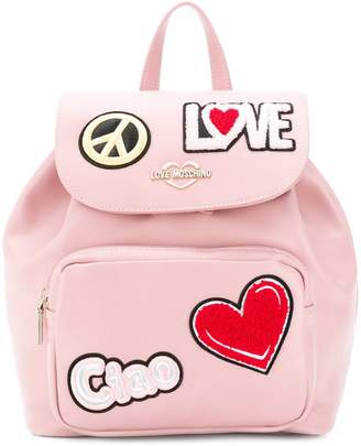 Love Moschino Ciao patch backpack