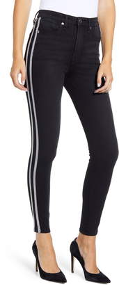 Good American Good Legs Athletic Stripe High Waist Ankle Skinny Jeans