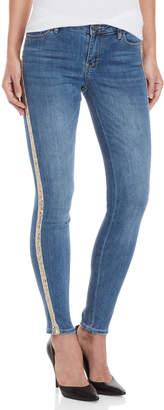 Bebe Sequin Stripe Skinny Jeans