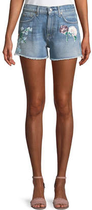7 For All Mankind Cutoff Floral-Painted Denim Shorts