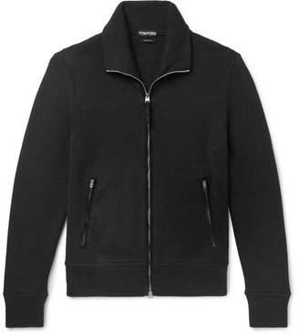 Tom Ford Suede-Trimmed Ribbed Wool Zip-Up Cardigan - Men - Black