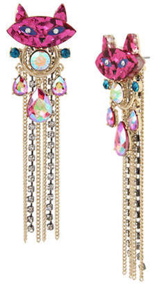 Betsey Johnson Granny Chic Crystal Cat Drop Earrings