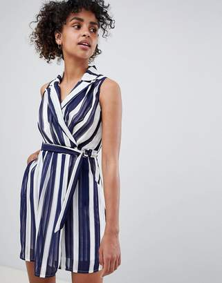 QED London Stripe Skater Dress With Collar Detail