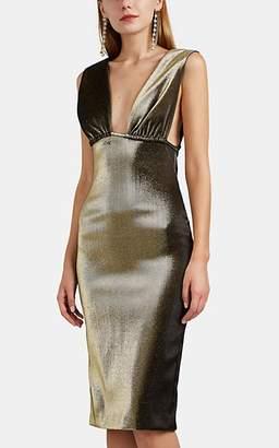 Area Women's Ruched Cotton-Blend Lamé Midi-Dress - Gold