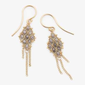 Amali Textile Earring Silver Diamond, Gold