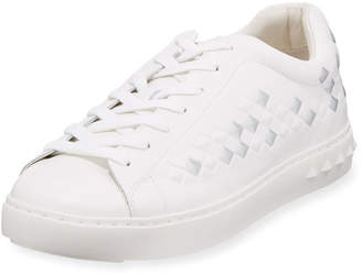 Ash Men's Power Spiked Platform Sneakers, White/Silver