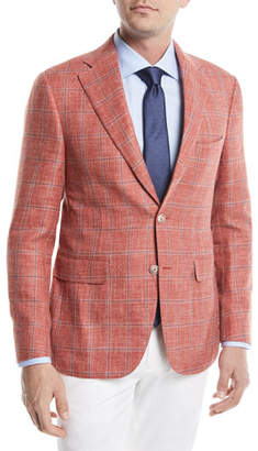 Canali Plaid Two-Button Wool/Linen/Silk Jacket, Coral