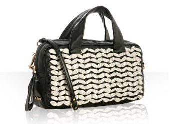 Miu Miu black and ivory lambskin woven top handle small bag
