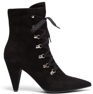 Gianvito Rossi Lace Up Suede Ankle Boots - Womens - Black