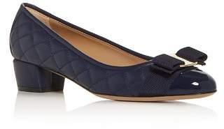 Salvatore Ferragamo Women's Quilted Cap-Toe Low-Heel Pumps