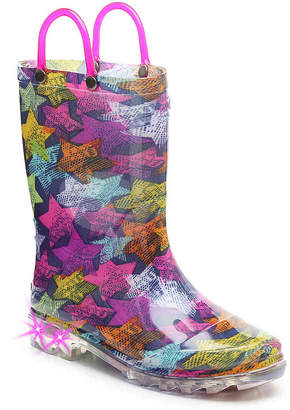 Western Chief Scribble Stars Toddler & Youth Light-Up Rain Boot - Girl's
