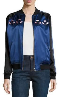 Opening Ceremony Reversible Silk Satin Bomber Jacket, Black/Blue/Multicolor $525 thestylecure.com