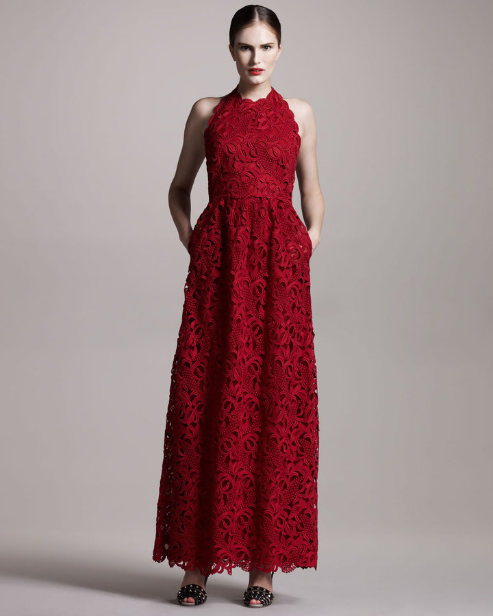 Valentino Lace Halter Gown