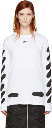 Off-White SSENSE Exclusive White Diagonal Spray T-Shirt $320 thestylecure.com