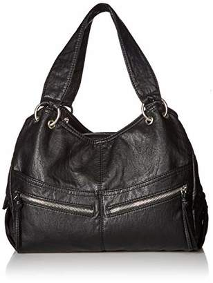 Bueno of California Faux Leather Washed Vintage Parchment Satchel
