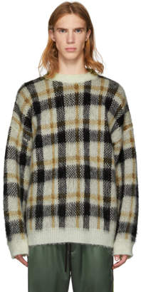 Cmmn Swdn Brown and White Mohair Check Micha Sweater