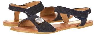 Victoria K Women's Rhinestone Embellished Denim Fashion Sandal