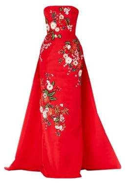 Carolina Herrera Straplesss Floral-Embroidered Silk Ball Gown