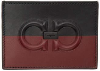 Salvatore Ferragamo Black and Red Two Tone Logo Card Holder
