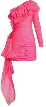 Dundas - One Shoulder Tiered Ruffle Mini Dress - Womens - Pink
