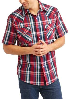 Plains Big and Tall Mens Short Sleeve Plaid Western Shirt