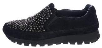 Prada Sport Embellished Velvet Slip-On Sneaker