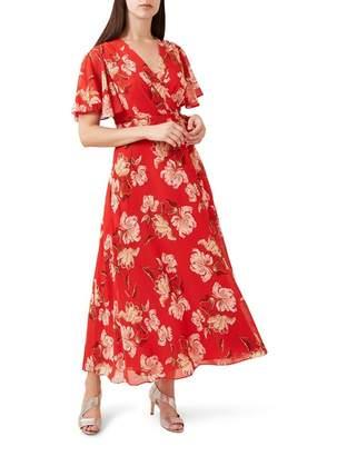Hobbs Red Floral Print 'Ottilie' Full Length Wrap Dress
