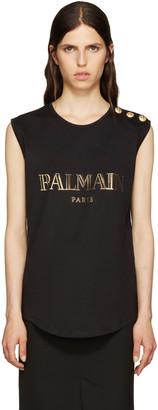 Balmain Black Logo T-Shirt $280 thestylecure.com