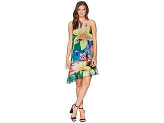 CeCe One Shoulder Jungle Splendor Ruffled Dress