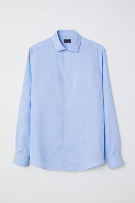 H&M Linen Shirt Slim fit - Blue