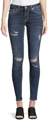 True Religion Distressed Contrast-Stitch Curvy Jeans