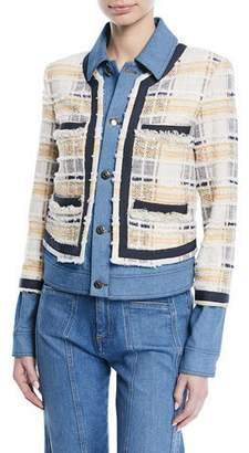 Veronica Beard Santiago Button-Front Combo Tweed & Denim Jacket